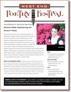 Free Workshop for High-School-Age Poets at the 2015 West End Poetry Festival
